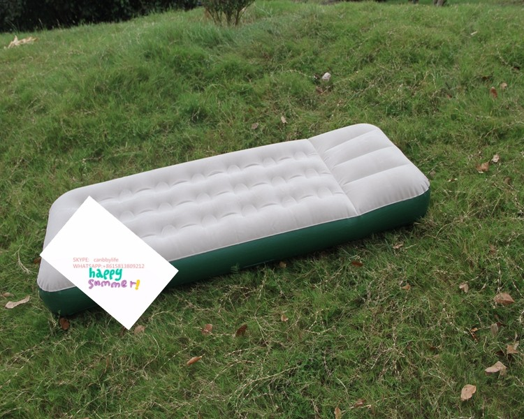 Cheap price single size inflatable air bed mattress for camping built in pillow,packed foot pump