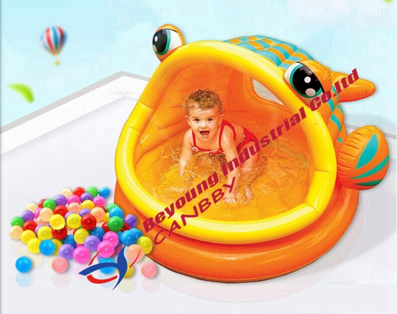 Intex Lazy Fish Shade Baby Pool Inflatable Kiddie Swimming Pool With Canopy