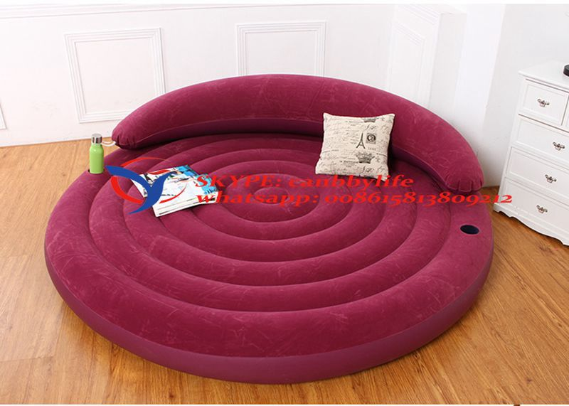 New Intex Ultra Daybed Lounge Air Bed Purple Flocked Inflatable Round Sofa Sleeping Leisure Sofa Guest Bed W/ Backrest cupholder