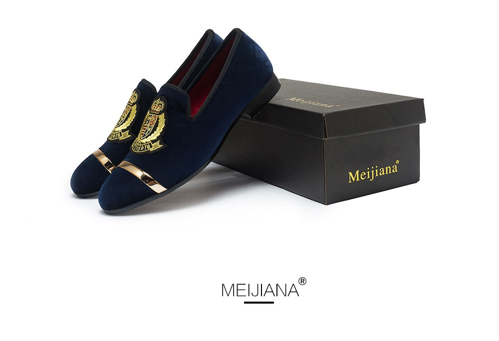 MEIJIANA Brand Comfortable Breathable Fashion Men Shoes Spring and Autumn Wedding Shoes Embroidery Men's Loafers