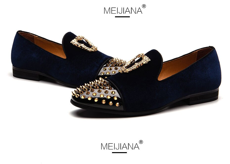 MEIJIANA High Quality Handmade Wedding Shoes Party Shoes Men Brand Loafers 2019 New Men's Pointed Non-slip Shoes
