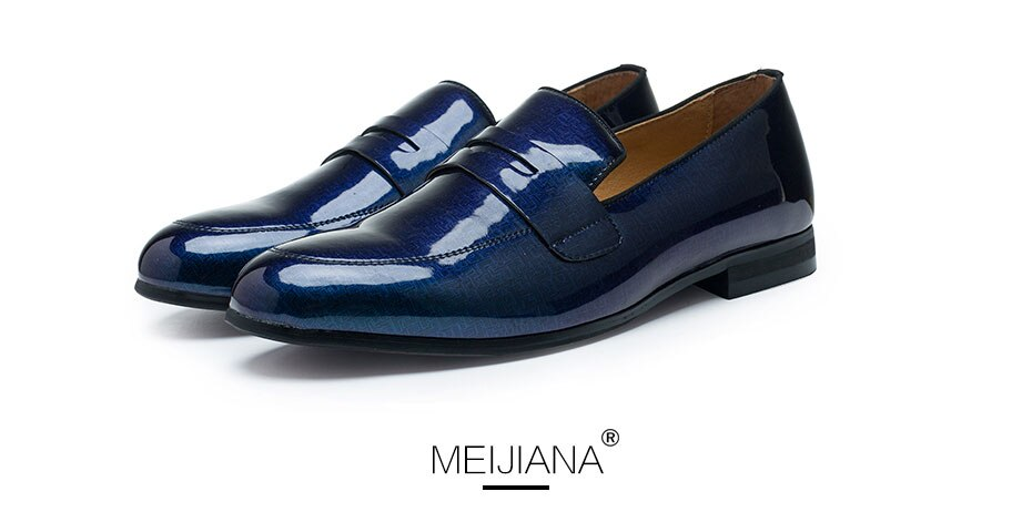 MEIJIANA Patent Leather Blue Men's Casual Shoes Brand Party Shoes Simple Style Outdoor Shoes Spring and Autumn Fashion Loafers