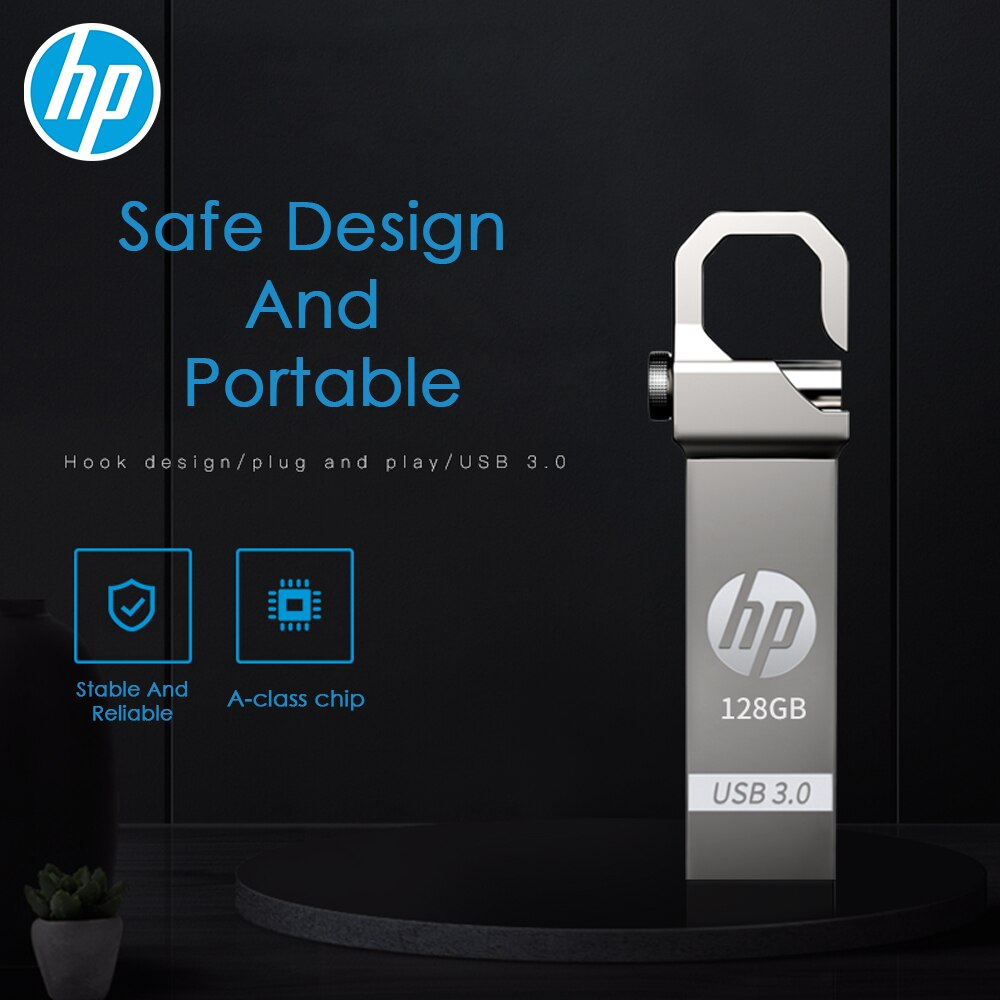 HP usb 3.0 flash drive Keychain pen drive 16GB 32GB 64GB 128GB Metal pendrive Card Memory Stick flashdrive u disk on Key