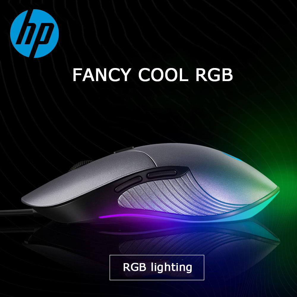 HP Professional Gaming Mouse 6400 4800 3200 2400 DPI RGB Wired Colorful Silent Macro Ergonomic Mice Computer PC Gamer for LOL CS