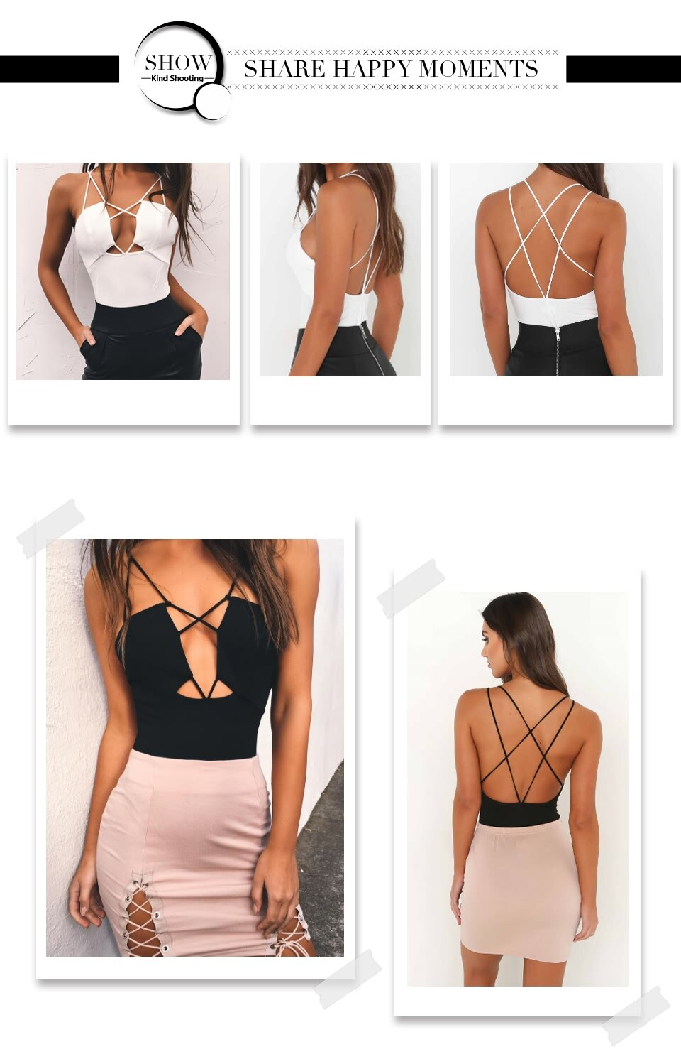 Sedrinuo White/Black Sexy Bodysuit Backless Rompers Womens Jumpsuit Bodycon Short Jumpsuit V neck Women's fashion 2018 Bodysuits