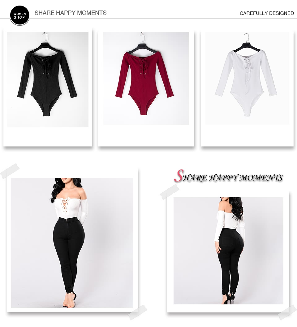 Sedrinuo lace up off shoulder long sleeve bodycon bodysuits women one piece sexy skinny sexy bodysuit women romper jumpsuit