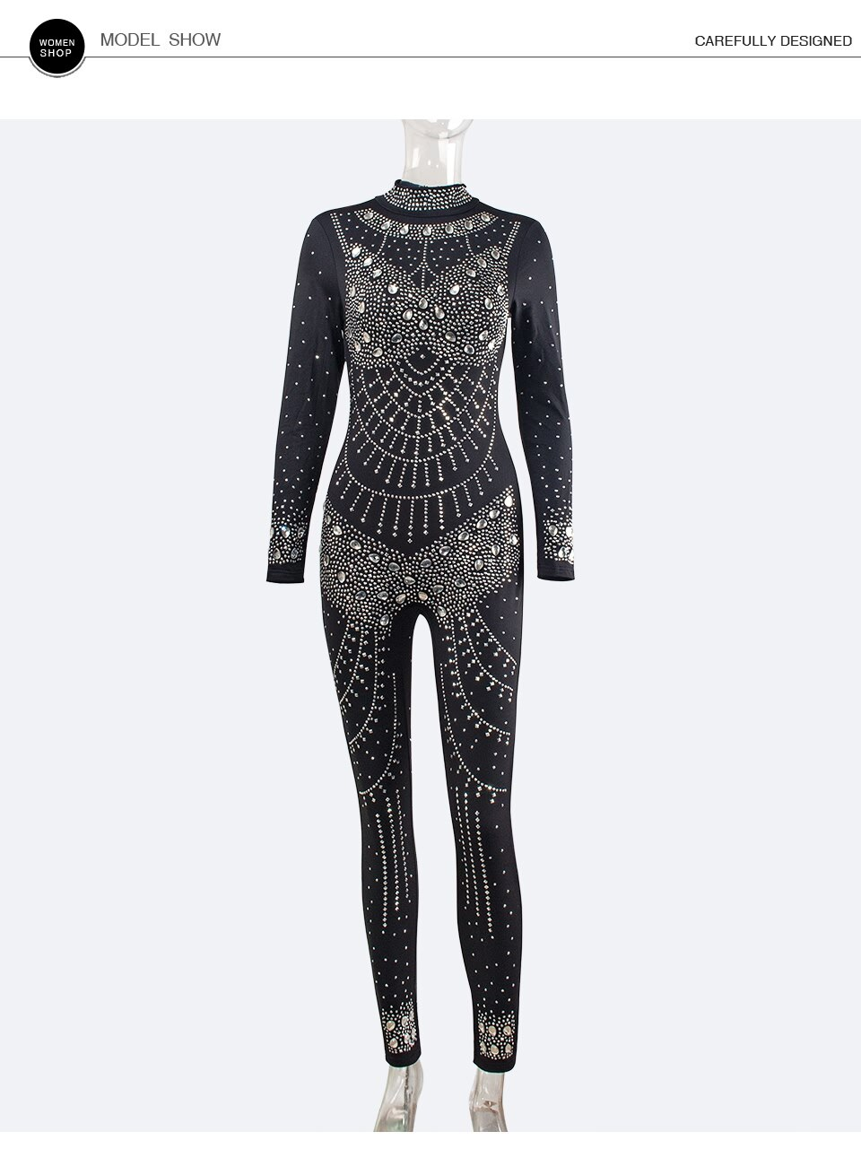 Sedrinuo Fashion Women Rhinestone Long Sleeve Jumpsuits Solid Mock Neck Full Length Skinny Jumpsuit Sexy Club Party Bodysuits