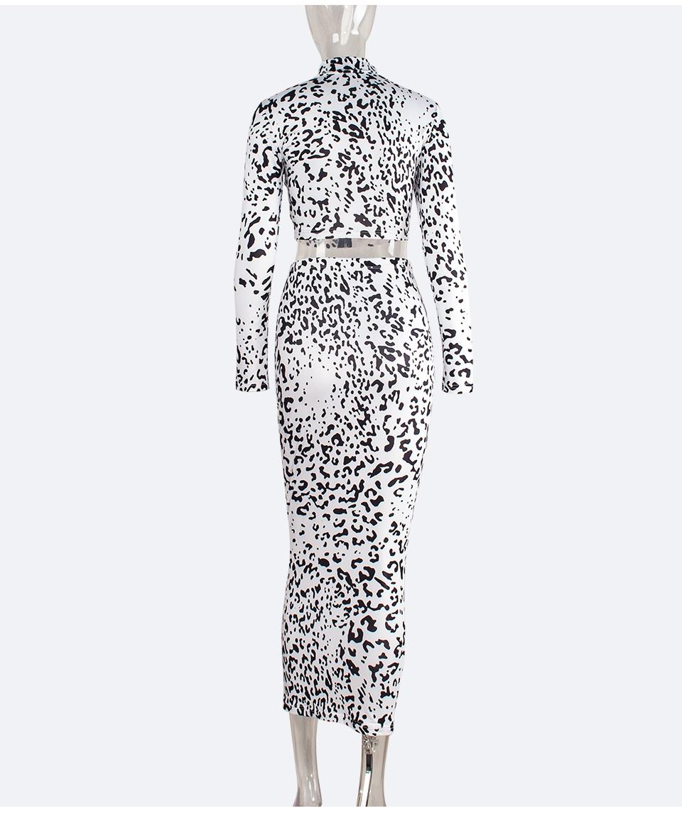 Sedrinuo Women A/W Sexy Leopard Long Sleeves 2 Pieces Set Dress Bodycon Mock Neck Slim High Waist Dresses Clubwear Lady Vestidos