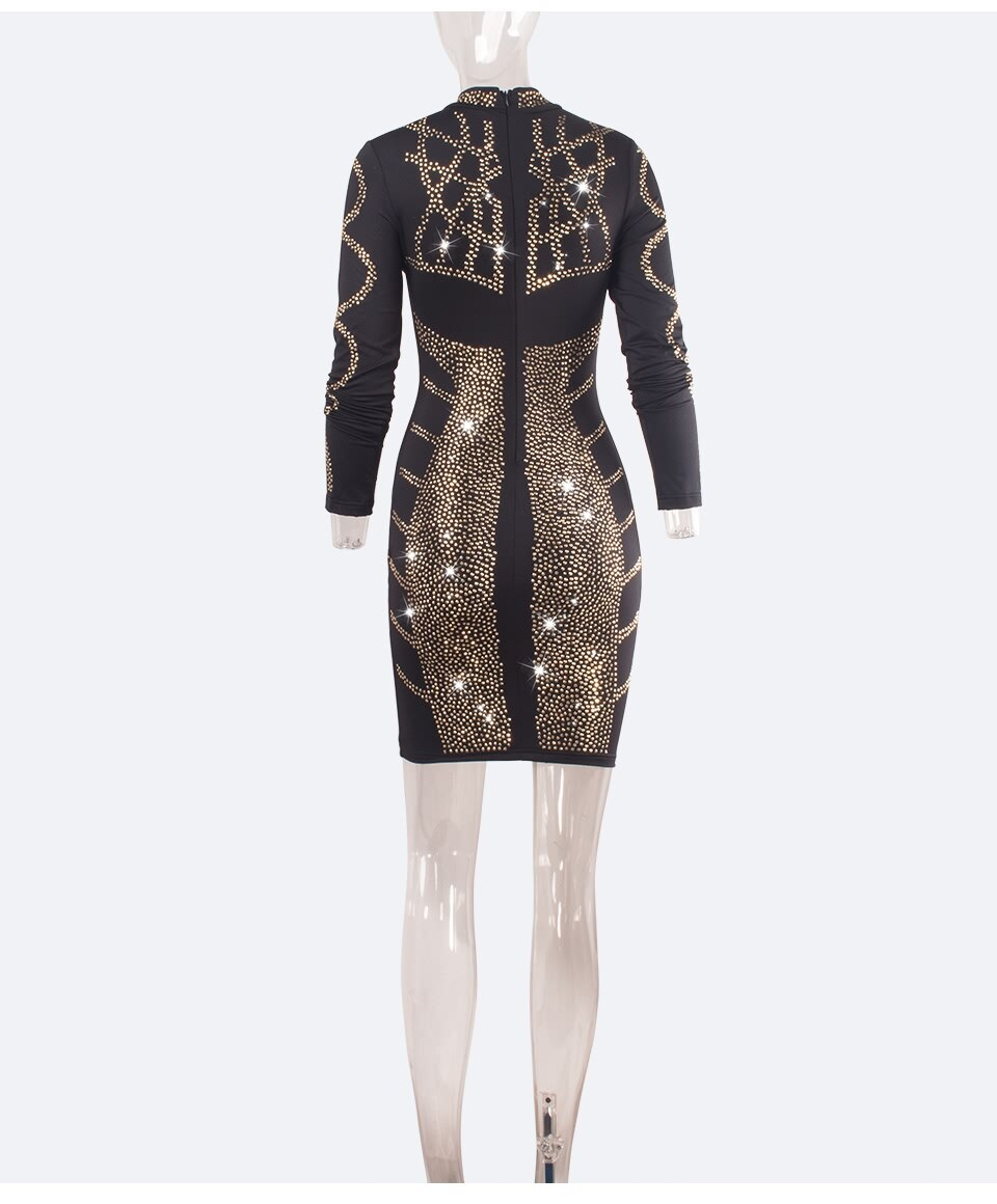 Sedrinuo Fashion Women Gold Sequin Winter Dress Long Sleeve Mock Neck Night Club Party Dresses Mini Vine Women Beading Dresses