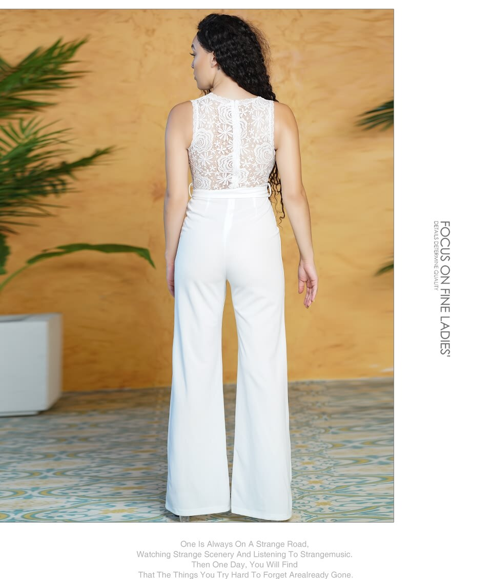 Sedrinuo Women Elegant Flower Lace Jumpsuits for Women Belted Rompers One piece White Wide Legs Overalls Long Party Jumpsuit