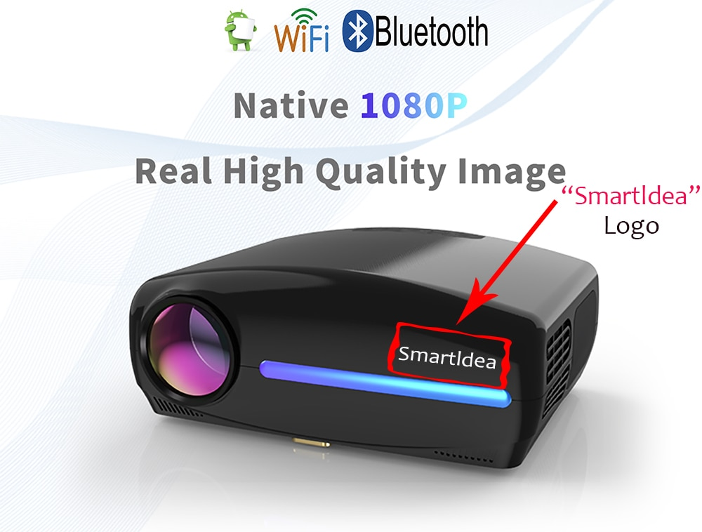 Smartldea 1080P 4K Full HD Projector,Android 9.0 Optional,1920x1080P Resolution 6500lumen,LED Proyector Home Theater,3D Beamer