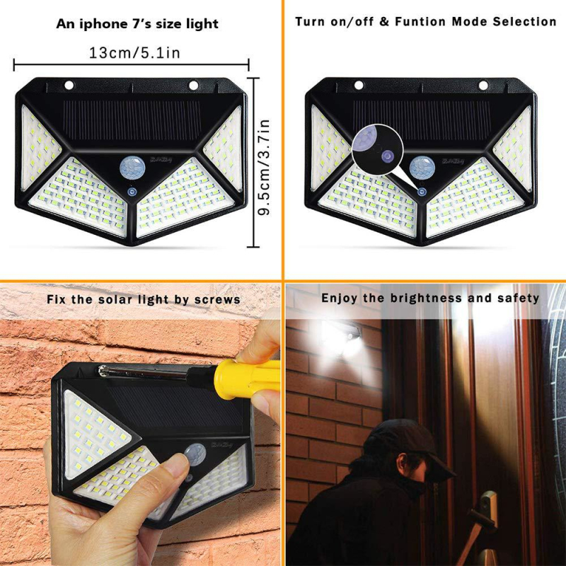 1/2/4Pcs Solar Power Light 100 LED Solar Wall Lamp with PIR Motion Sensor IP65 Waterproof Solar Lamps for Garden Decoration Hot