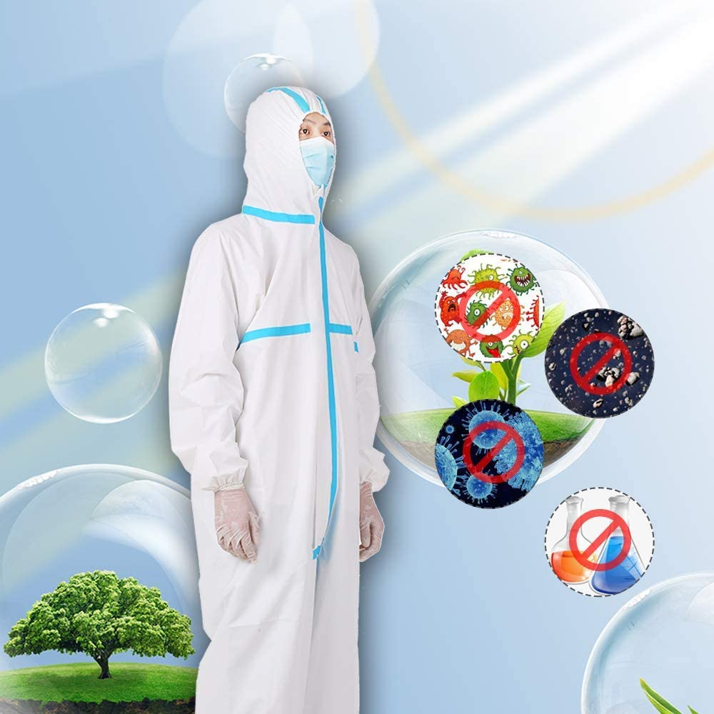 High Antibacterial Disposable Coveralls Protective Clothing Breathable Hooded Suit Anti-epidemic Isolation Suit for Medical