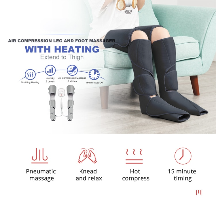 KLASVSA Leg Air Compression Massager Heated for Foot and Calf Thigh Circulation  with Handheld Controller 2 Modes 3 Intensities