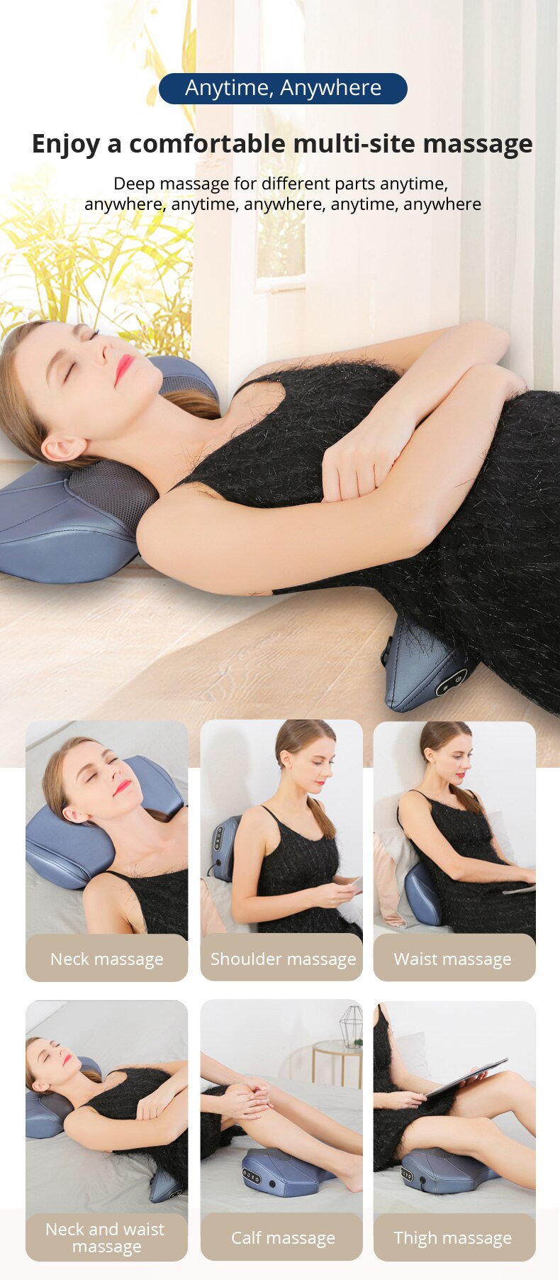 KLASVSA Intelligent combination massage pillow Neck massage Back massage Waist massage Bluetooth music Artificial broadcast