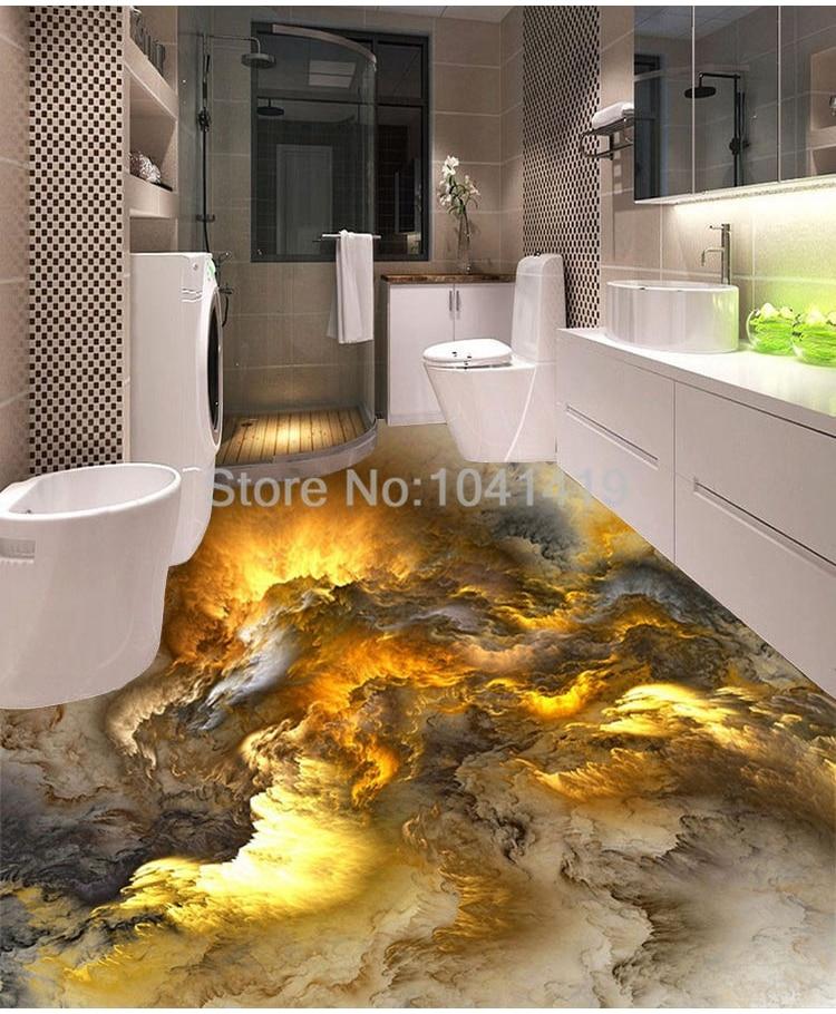 3D Flooring Wallpaper Modern Personality Abstract clouds 3D Floor Tiles Bedroom Bathroom PVC Self Adhesive Waterproof  3 D Mural