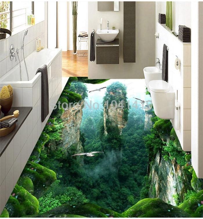 Custom 3D Mural Floor Wallpaper Cliff Scenery PVC Wear Waterproof For Bathroom 3D Floor Wall Stickers Vinyl  Kitchen Wall Paper