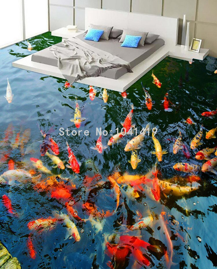 PVC Self Adhesive Waterproof 3D Floor Murals Goldfish Pond Photo Wall Paper Sticker Bathroom Kitchen Home Decor Papel De Parede