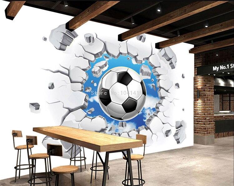 Custom 3D Mural Wallpaper Modern Simple Football Broken Wall Photo Wall Murals Kids Bedroom Living Room Creative Decor Wallpaper