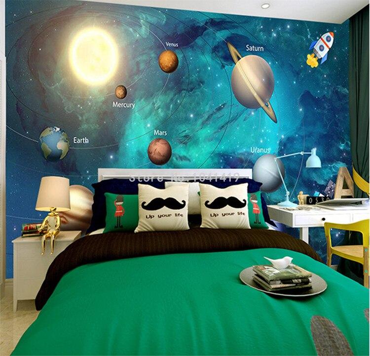 3D Wallpaper Space Universe Children Room Starry Sky Planet Wallpaper 3D Stereo Cartoon Mural Papel De Parede Infantil 3D Fresco