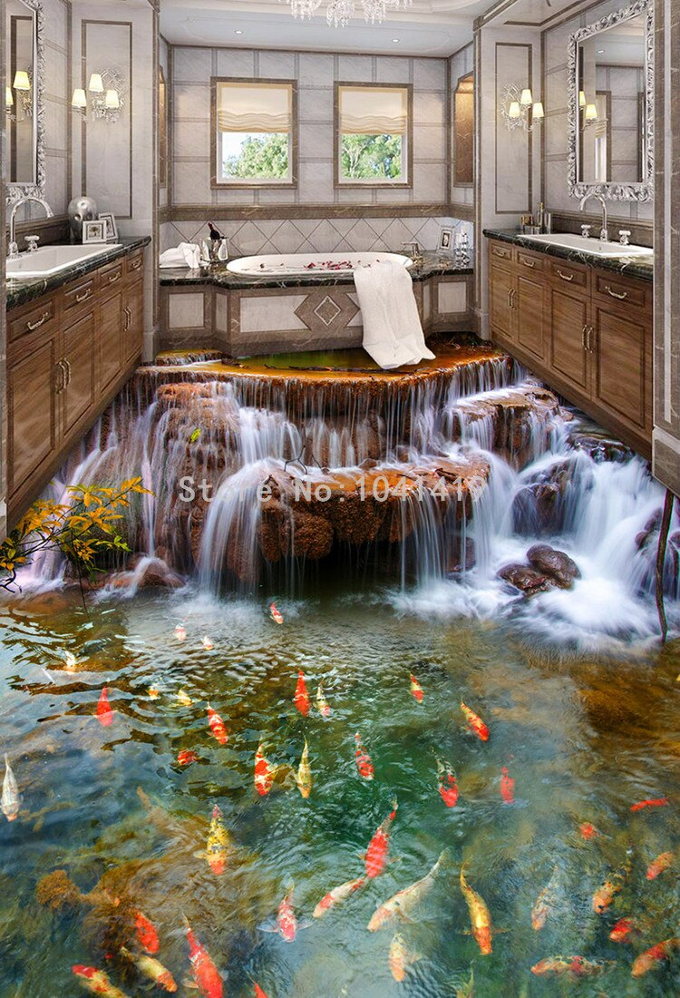 Chinese Style Waterfall Carp 3D Floor Mural Wallpaper Kitchen Waterproof Wear Thick Self-adhesive 3D Floor Tiles PVC Wallpapers