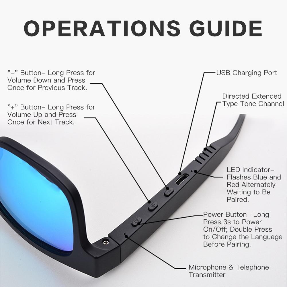 Smart Sunglasses Wireless Stereo Bluetooth Speaker Sunglasses  Bluetooth Smart Sports Bluetooth Glasses Outdoor Audio Sunglasses
