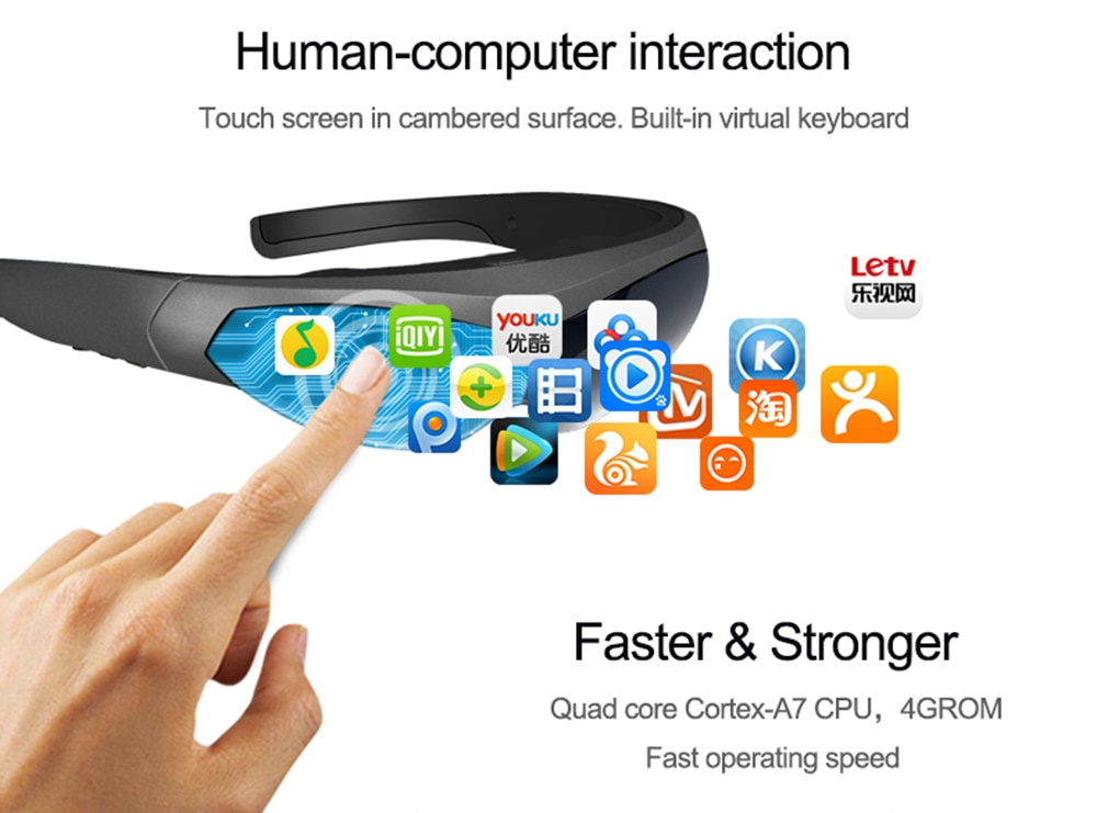 2020 New Smart Glasses FPV Video Glasses K600 80 inch screen Head-mounted display Immersive game Android system WIFI BT4.0